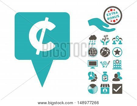 Cent Map Pointer icon with bonus design elements. Vector illustration style is flat iconic bicolor symbols grey and cyan colors white background.