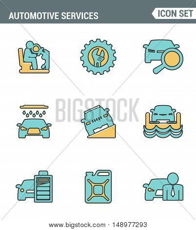 Icons line set premium quality of automotive services transportation technician system. Modern pictogram collection flat design style symbol . Isolated white background