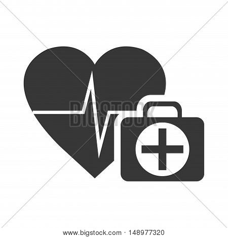 cardio pulse heart with emergency medicine kit icon silhouette. vector illustration