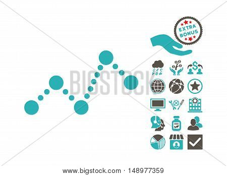 Chart pictograph with bonus pictogram. Vector illustration style is flat iconic bicolor symbols grey and cyan colors white background.