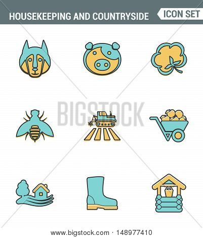 Icons line set premium quality of housekeeping and countryside industry agronomy agriculture. Modern pictogram collection flat design style symbol . Isolated white background