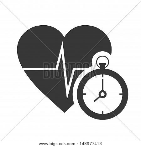 cardio pulse heart with chronometer device icon silhouette. vector illustration