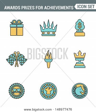 Icons line set premium quality of awards prizes for achievements element honor reward. Modern pictogram collection flat design style symbol . Isolated white background
