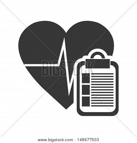 cardio pulse heart with report table page icon silhouette. vector illustration