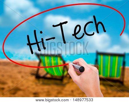 Man Hand Writing Hi-tech With Black Marker On Visual Screen.