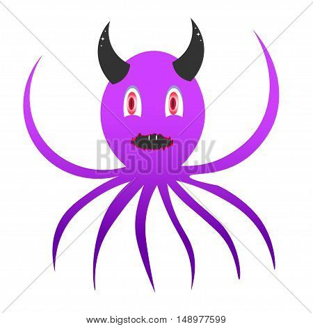 icon devil octopus. symbol, icon, emblem. vector illustration.