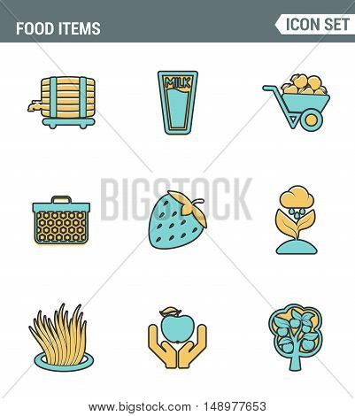 Icons line set premium quality of food Items business industry farm products plant fruit. Modern pictogram collection flat design style symbol . Isolated white background