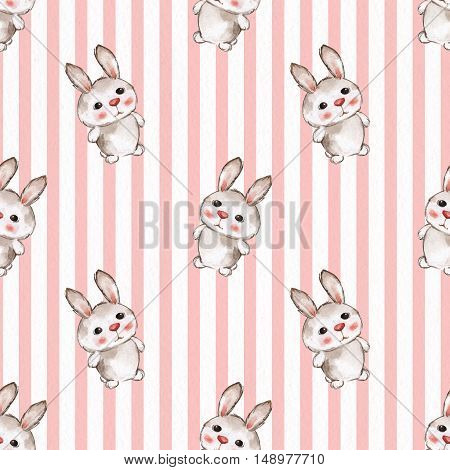 Background with rabbits. Seamless pattern with cartoon animals. Watercolor painting 11
