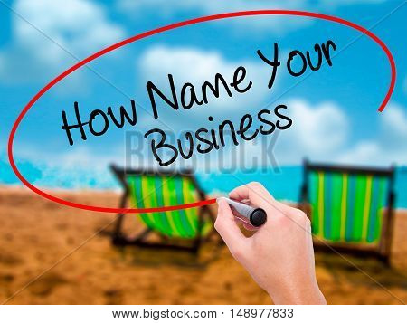 Man Hand Writing How Name Your Business With Black Marker On Visual Screen