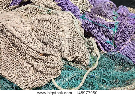 Closeup view of a bunch of fishing nets
