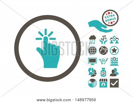 Click icon with bonus symbols. Vector illustration style is flat iconic bicolor symbols grey and cyan colors white background.