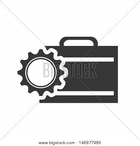 executive business briefcase with gear wheel icon silhouette. vector illustration