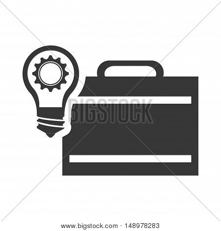 executive business briefcase with bulb light and gear icon silhouette. vector illustration