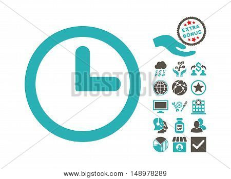 Clock pictograph with bonus icon set. Vector illustration style is flat iconic bicolor symbols grey and cyan colors white background.
