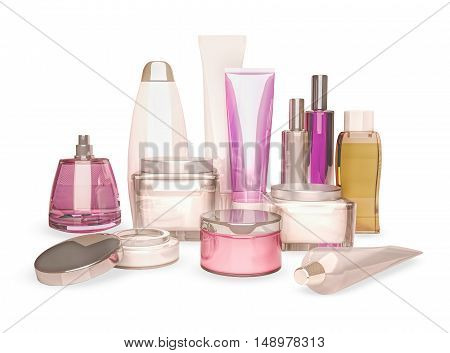 Jars of moisturizing face cream. 3D illustration