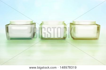 Three Flasks with cosmetic cream on a blue background. Daily beauty care cosmetic. Face creams. Skin care. 3D illustration