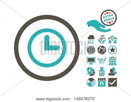 Clock pictograph with bonus symbols. Vector illustration style is flat iconic bicolor symbols grey and cyan colors white background.