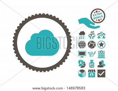 Cloud icon with bonus design elements. Vector illustration style is flat iconic bicolor symbols grey and cyan colors white background.