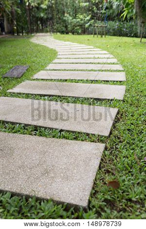Walkway In Lawn Yard In Garden