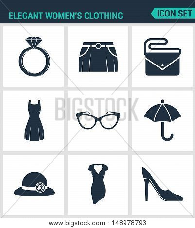 Set of modern vector icons. Elegant women s clothing ring skirt bag clutch dress glasses umbrella hat shoes. Black signs on a white background. Design isolated symbols and silhouettes.