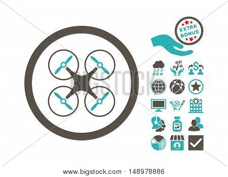 Copter icon with bonus symbols. Vector illustration style is flat iconic bicolor symbols grey and cyan colors white background.