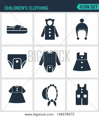 Set of modern vector icons. Children s clothing shoes jacket raglan cap diapers clothes hat pants. Black signs on a white background. Design isolated symbols and silhouettes.