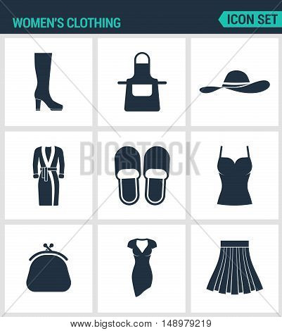 Set of modern vector icons. Women s clothing shoes fartuh hat robe slippers T-shirt. purse dress skirt. Black signs on a white background. Design isolated symbols and silhouettes.