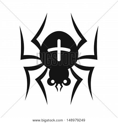 Spider with a cross on his back icon in simple style on a white background vector illustration