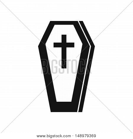 Coffin icon in simple style on a white background vector illustration