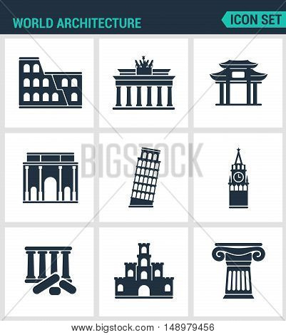 Set of modern vector icons. World architecture Coliseum gate china berlin Leaning Tower Big Ben Greek ruins Castle Columns. Black signs white background. Design isolated symbols silhouettes.