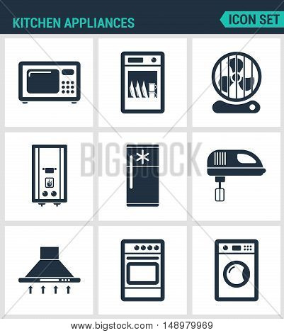 Set modern vector icons. Kitchen appliances microwave dishwasher fan boiler refrigerator blender extractor hood gas stove washing machine. Black signs white background. Design isolated symbol.