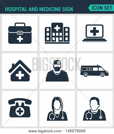 Set of modern vector icons. Hospital rescue paramedic people in a hurry maca hospital helicopter stretcher helicopter view. Black signs white background. Design isolated symbols silhouettes.
