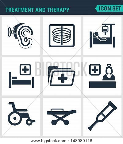 Set modern vector icons. Treatment and therapy hearing instrument X-ray dropper bed hospital folder doctor wheelchair crutches Carriers. Black signs white background. Design isolated symbols.