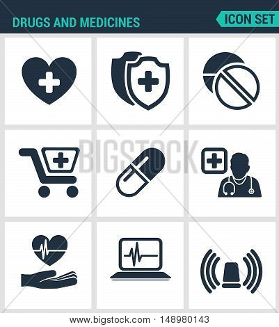 Set of modern vector icons. Drugs and medicines heart protection pills buy drugs doctor heartbeat instrument horn ambulance. Black signs white background. Design isolated symbols silhouettes.