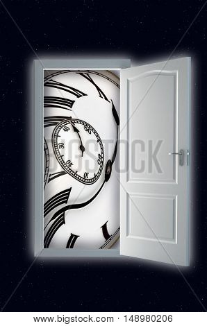 Mystical door with clock in deep space. Time concept