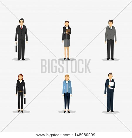 executive people in suit with  business related icons image vector illustration