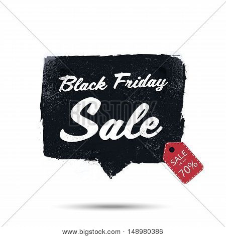 Black friday sale promotional poster with watercolor frame vector background. Discounts advertising in retail. Eps10 vector illustration.