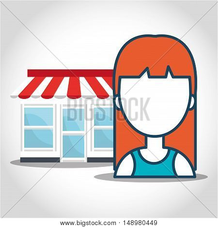 store building and avatar woman. shopping and ecommerce theme. colorful design. vector illustration