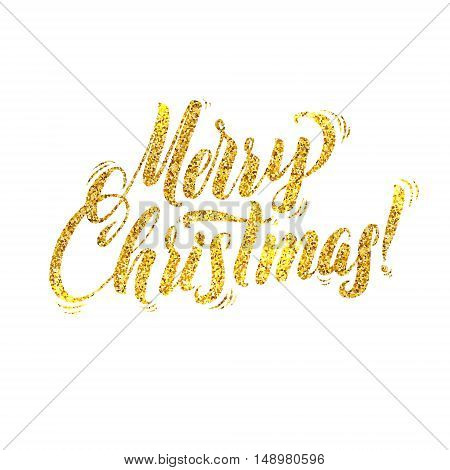 Gold Merry Christmas Card. Golden Shiny Glitter. Calligraphy Greeting Poster Tamplate. Isolated White Background. Glowing Illustration