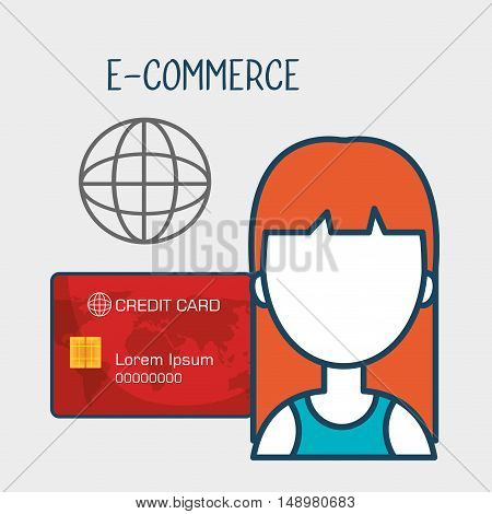 avatar woman with shopping and ecommerce icon set. colorful design. vector illustration