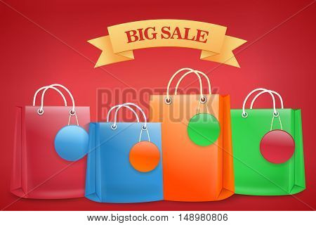 Big sale banner with shoping bags. Vector illustration