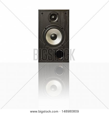 Image of professional audio speakers in a wooden case. Photo isolated on white background with reflection on a horizontal surface. There is an empty seat for your text.