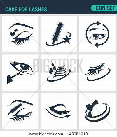 Set of modern vector icons. Care for lashes cosmetics eyes eyebrows eyelashes pencil eyeliner mascara. Black signs on a white background. Design isolated symbols and silhouettes.
