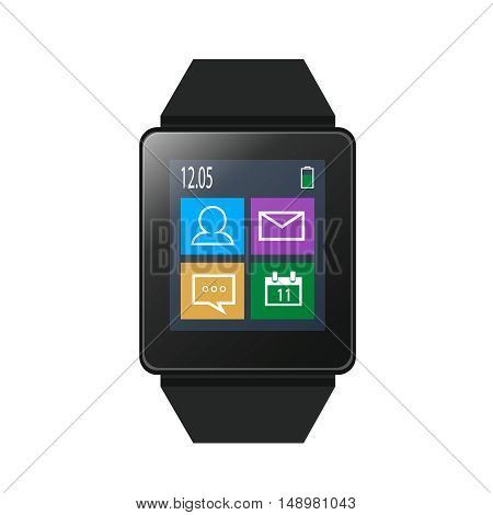 Smart watch with icons on screen, EPS10