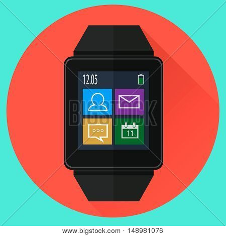 Smart watch with icons on screen. Flat style