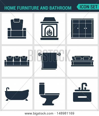 Set of modern vector icons. Home furniture and bathroom armchair fireplace wardrobe sofa towel bath toilet washbasin. Black signs on a white background. Design isolated symbols and silhouettes.