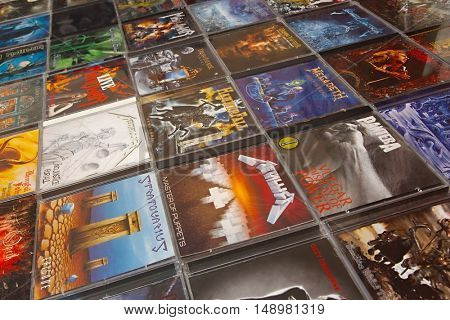 BUDAPEST, HUNGARY - SEPTEMBER 14, 2016: Heavy metal music CD's from various bands