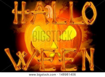 Word Halloween made of crossed bones on creepy background with Halloween pumpkin. Halloween concept.