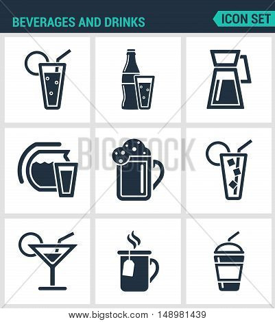 Set of modern vector icons. Beverages and drinks shake martini bottle bar cocktail alcohol glass soda juice drink. Black signs on a white background. Design isolated symbols and silhouettes.