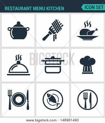 Set of modern vector icons. Restaurant menu kitchen bowler fork chicken dish pot cook plate cutlery fish. Black signs on a white background. Design isolated symbols and silhouettes.